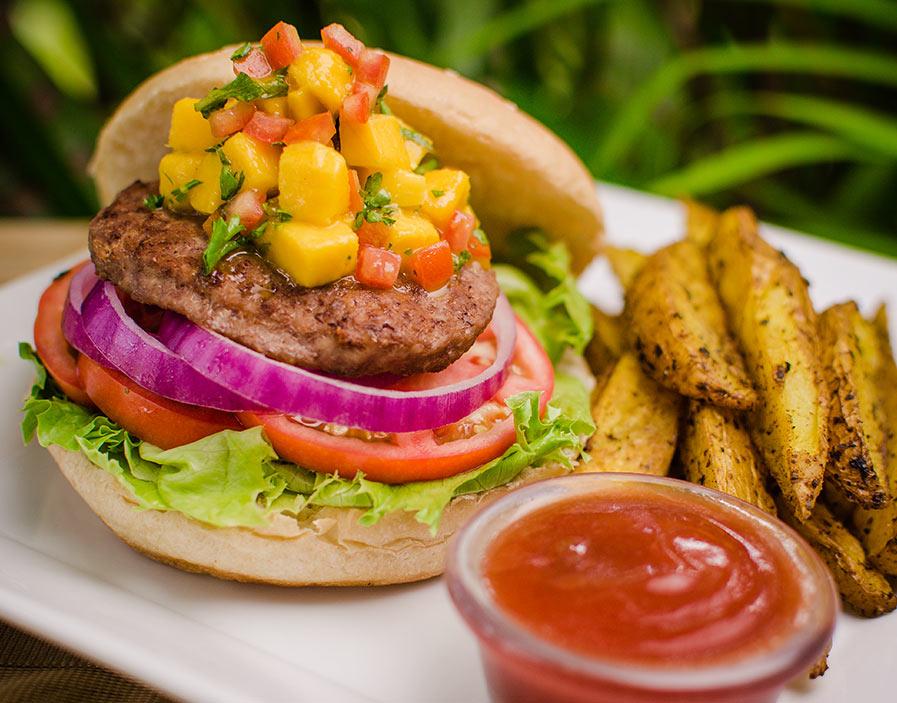 Reggae Jammin' Beef Burger with Mint infused Mango Salsa