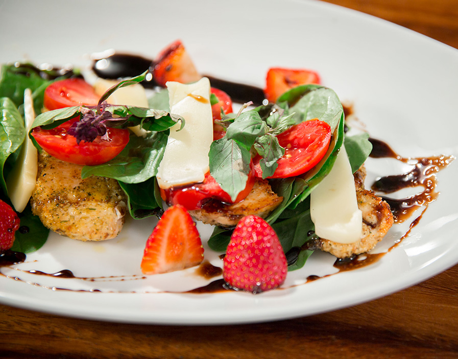 Pan Seared Chicken Caprese Salad with Balsamic Reduction