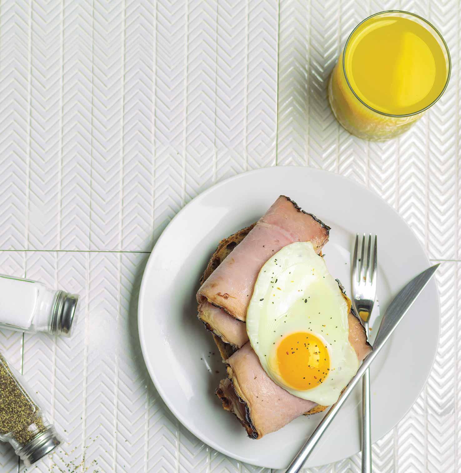 Open Faced Ham & Egg Sandwich