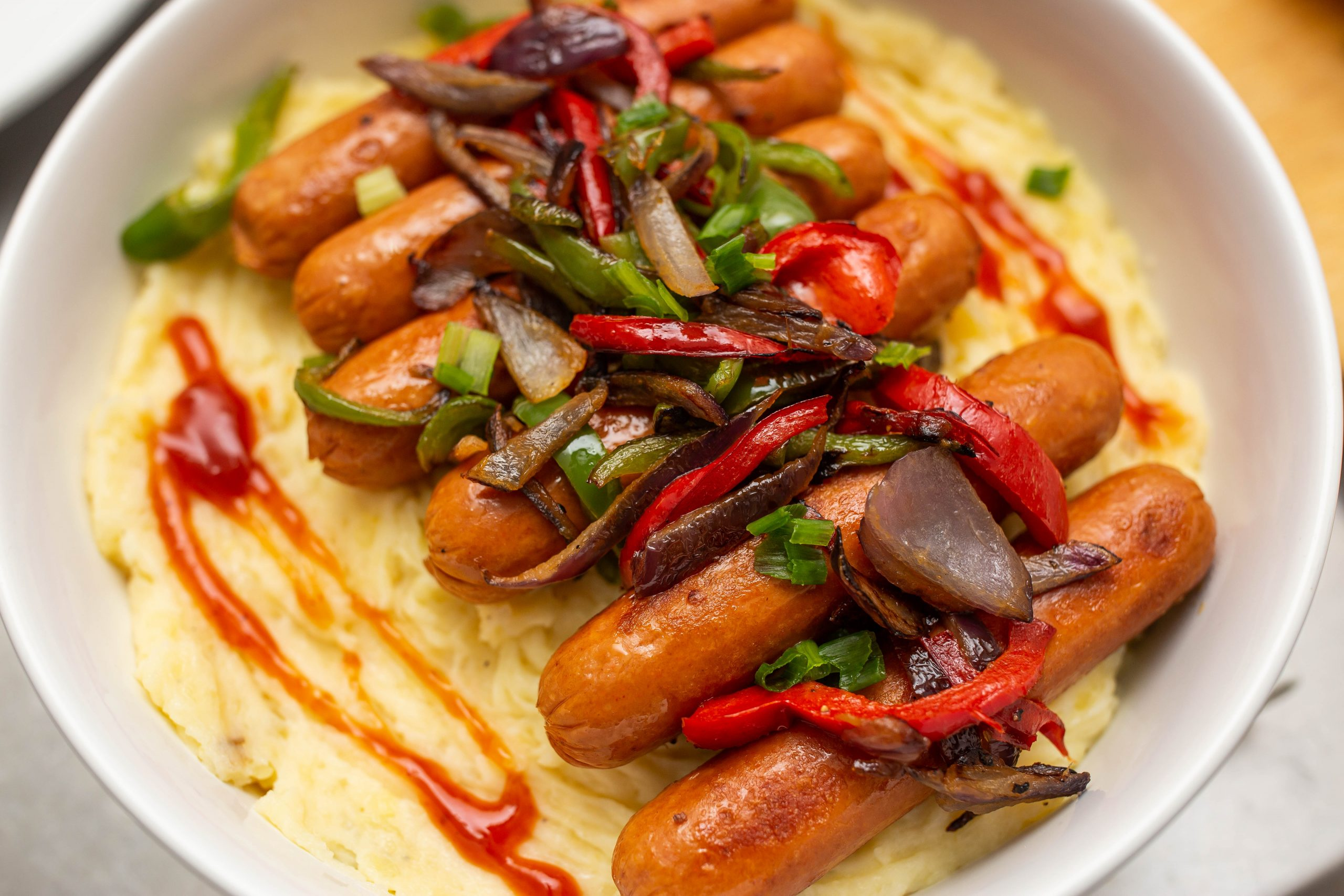 Pan Seared Chicken Franks with Creamy Mashed Potatoes