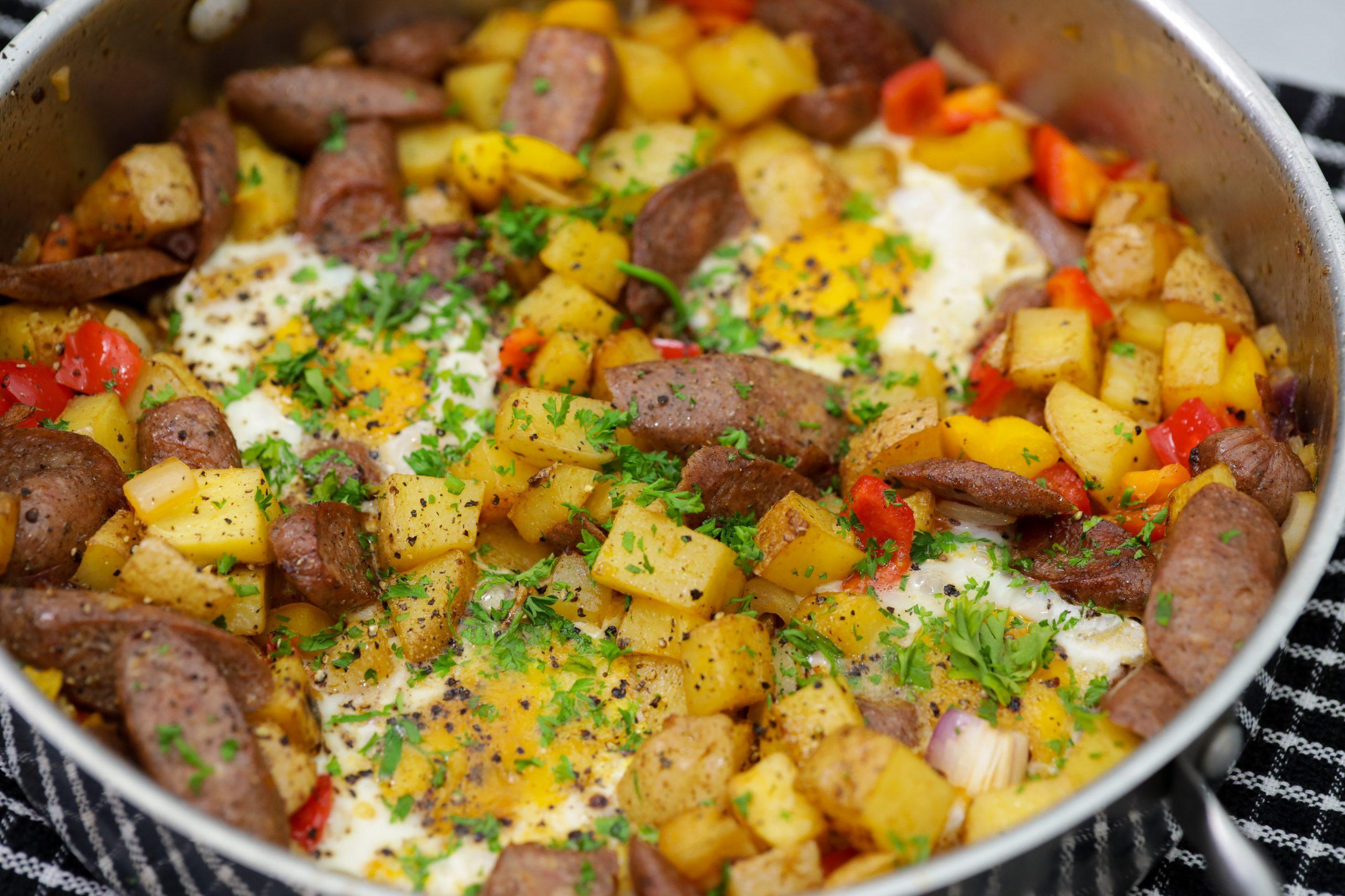 Jerk Chicken Sausage Breakfast Bake