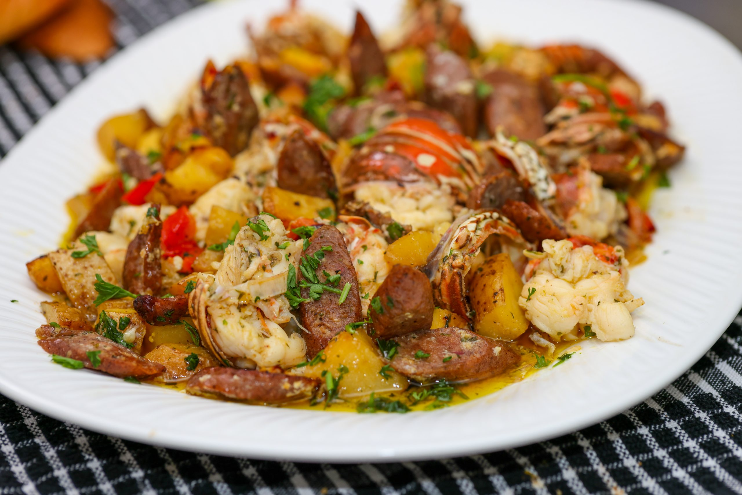Lobster Boil with Jerk Chicken Sausage